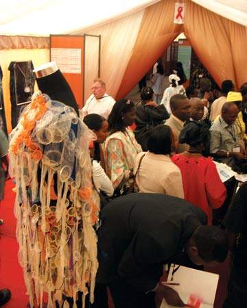 Female condom stand at the International Conference on AIDS and STIs in Africa (ICASA) 2008 Photo: Ilze Smit