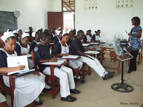 Midwife Sarah Shaffa teaches at the Merlin/Ministry of Health Midwifery School in Liberia, remote south eastern region