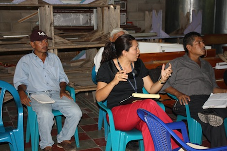 People at a community climate change meeting in El Salvador